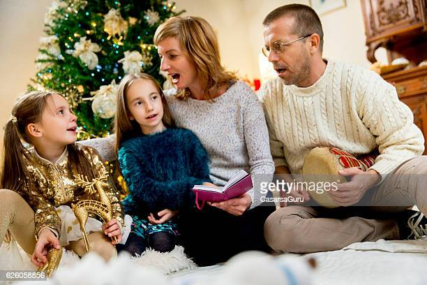 Happy Family Singing Christmas Songs
