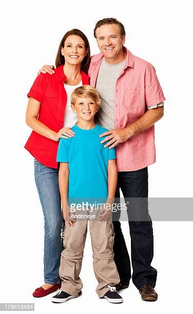 Glückliche Familie lächelnd zusammen-isoliert