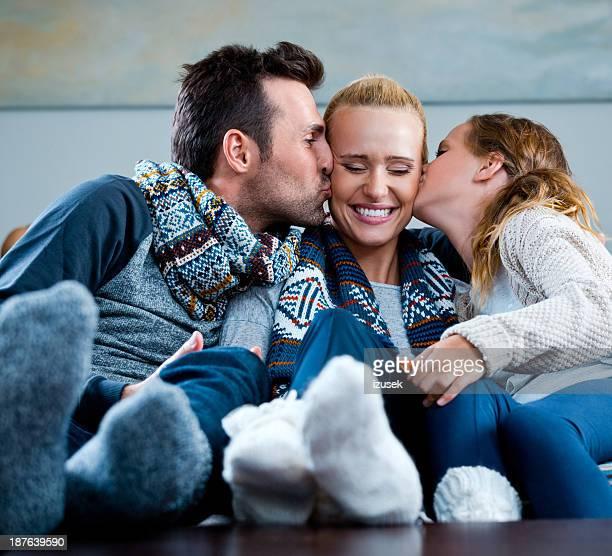 Glückliche Familie Winter-Porträt