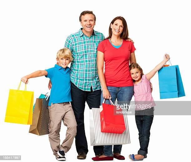 Glückliche Familie mit Einkaufstasche-isoliert
