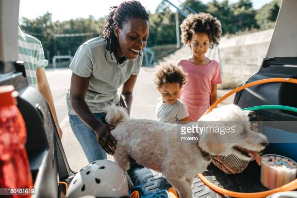 happy family with their pet dog packing things in car trunk - black boot stock pictures, royalty-free photos & images