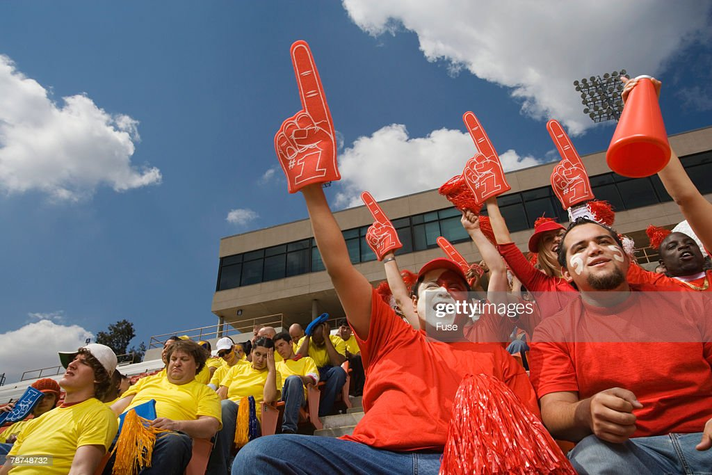 Happy Fans and Unhappy Fans : Stock Photo