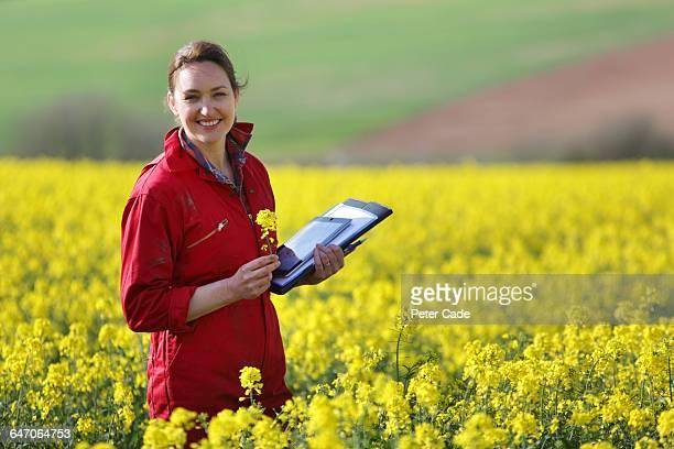 happy farmer in oil seed rape field - イングランド南西部 ストックフォトと画像