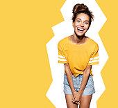 Happy fashionable model on white background
