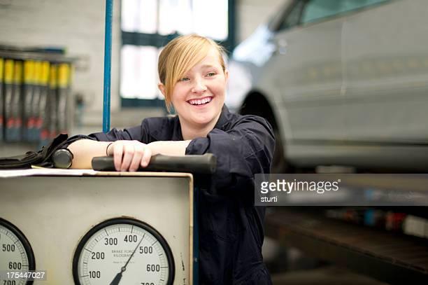happy female auto trainee