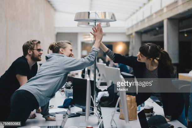 happy female computer programmers giving high-five over desk in office - samenwerken stockfoto's en -beelden