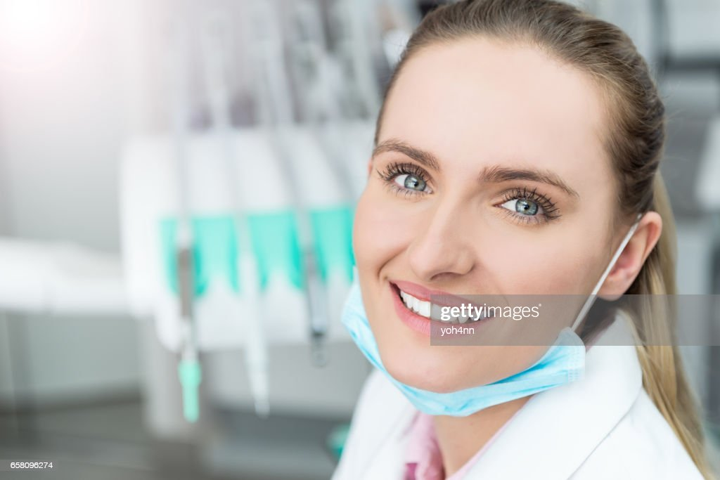 With Mask Surgical Doctor Happy High-res Female Photo Stock