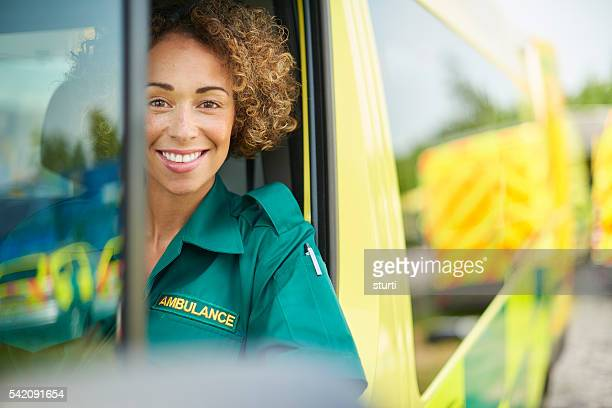 happy female paramedic