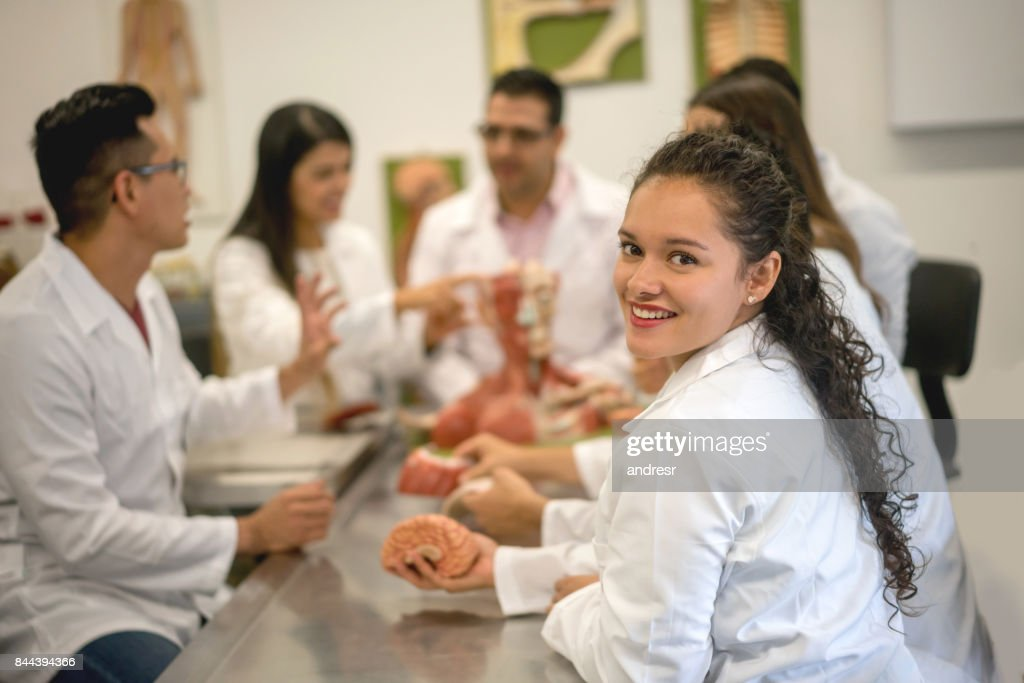 Happy Female Student In An Anatomy Class Stock Photo   Getty Images