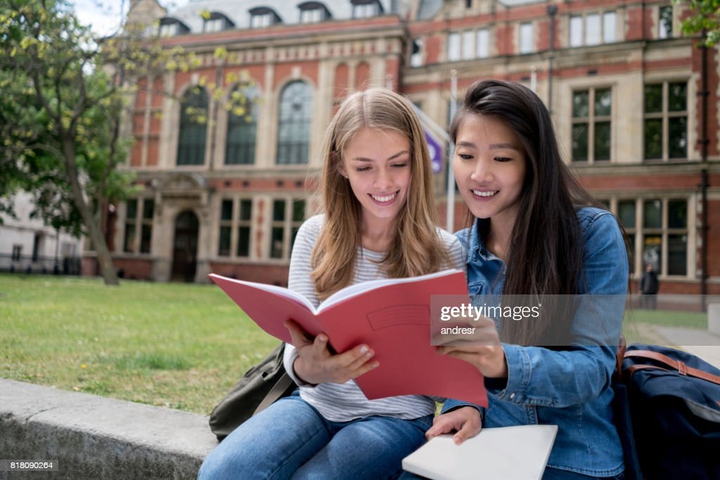 Happy female students studying outdoors : Stock Photo
