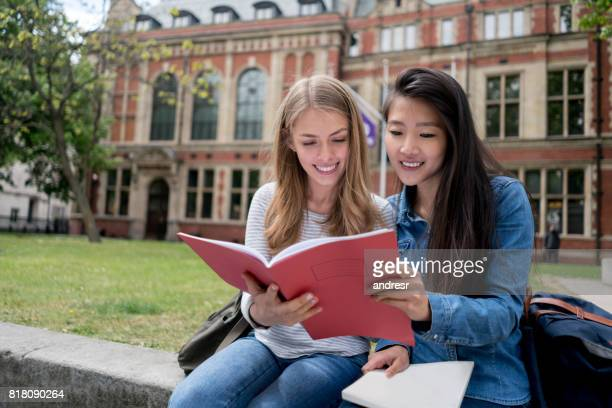 happy female students studying outdoors - chinese culture stock pictures, royalty-free photos & images