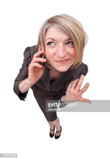 olho de mulher de negócios feliz com telefone celular - grande angular - fotografias e filmes do acervo