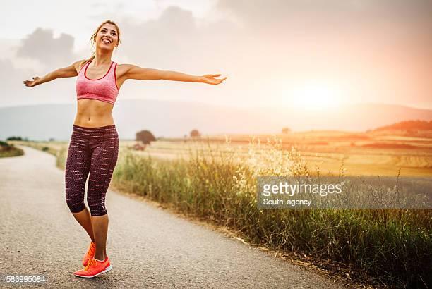 Happy fitness woman