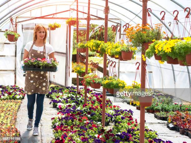 Happy florist collecting flowers for sale