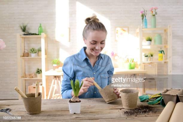 Happy Florist Planting Hyacinth