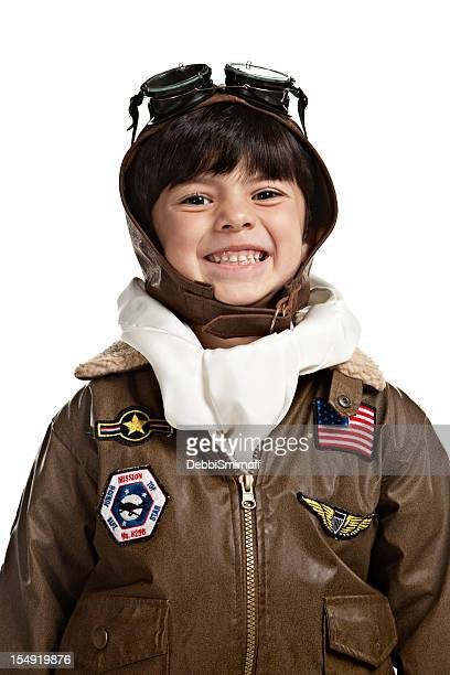 Happy Flying Ace 4 Year Old Boy Isolated