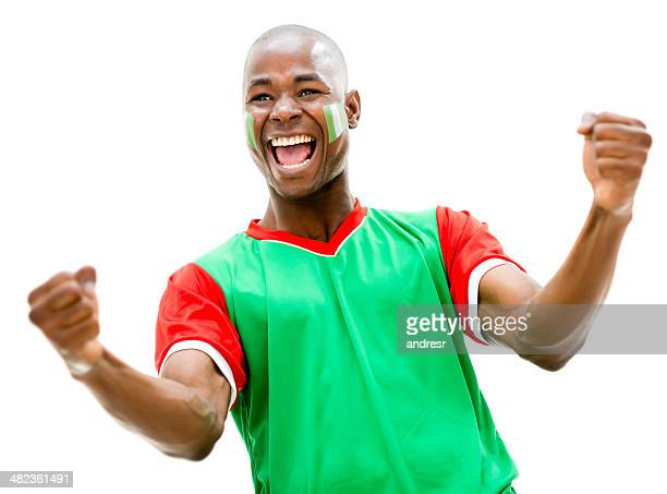 happy football fan - football body paint stock photos and pictures