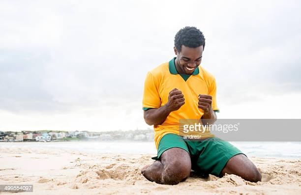 Happy football player