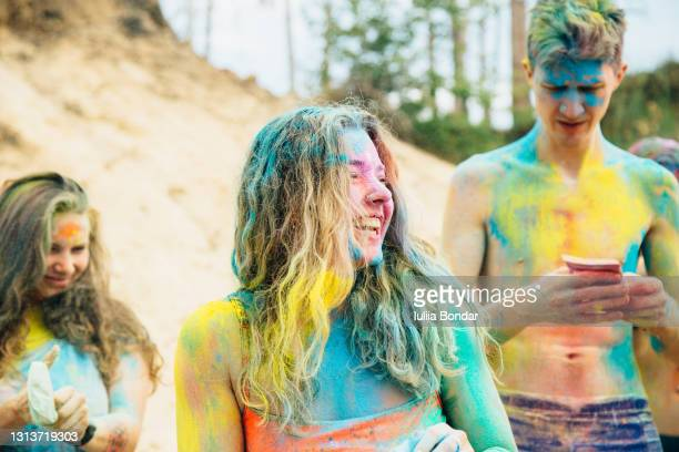 happy frieands having fun. festival holi. - ceremony stock pictures, royalty-free photos & images