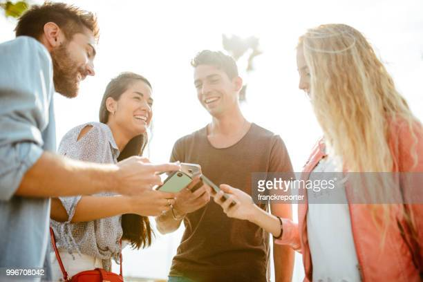 happy friends addicted to the social media