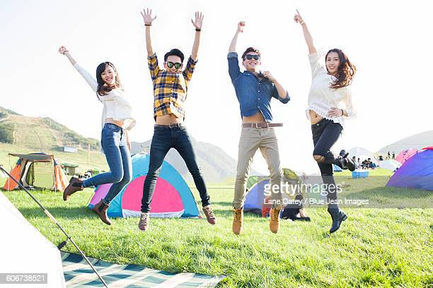 Happy friends at music festival