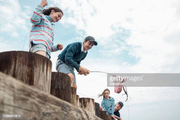 happy friends catching crab while standing on wooden railing against cloudy sky - outdoor pursuit stock pictures, royalty-free photos & images
