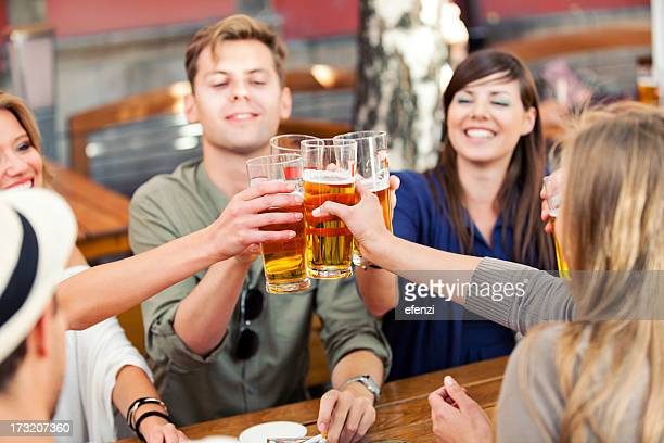 Happy Friends Drinking Beer