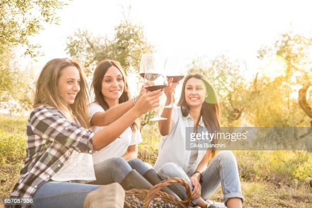 Happy friends drinking wine ia a vineyard