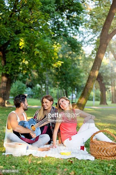 Happy friends having fun at picnic