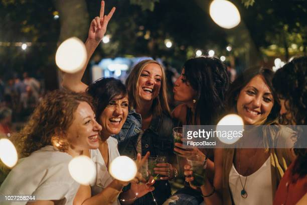 happy friends having fun together - aperitif stock photos and pictures