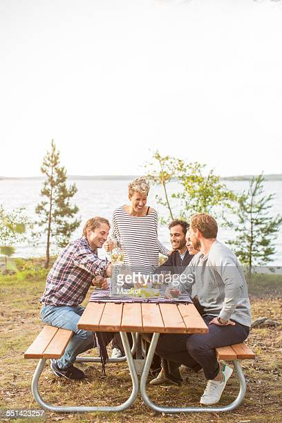 happy friends having lunch at lakeshore - picnic table stock pictures, royalty-free photos & images