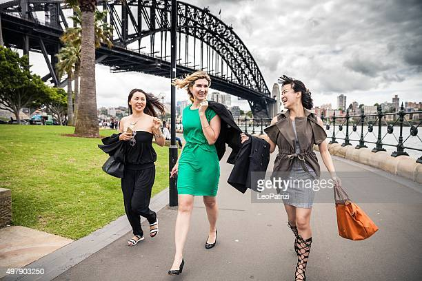 happy friends in sydney - sydney harbour stock pictures, royalty-free photos & images