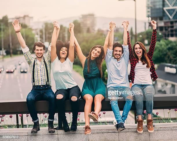 happy friends in the city - five people stock pictures, royalty-free photos & images