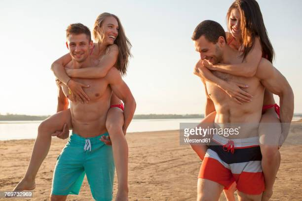 Happy friends on the beach