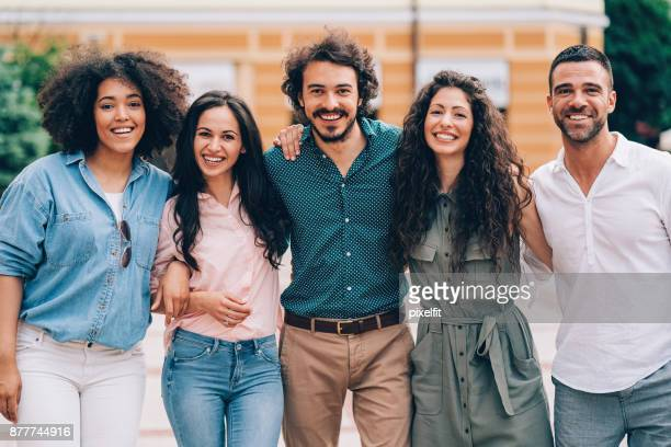 happy friends - five people stock pictures, royalty-free photos & images