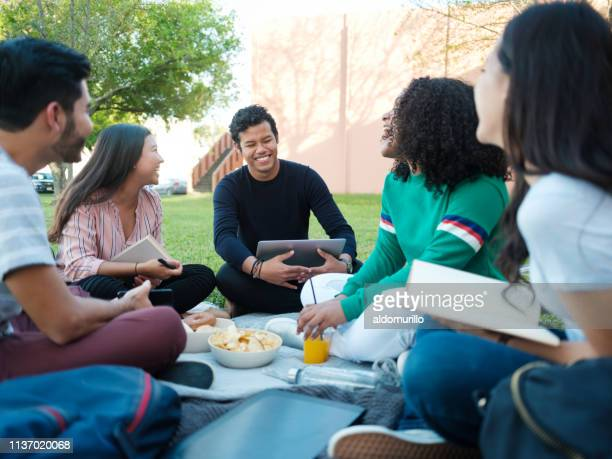 happy friends studying outside - mexican picnic stock pictures, royalty-free photos & images