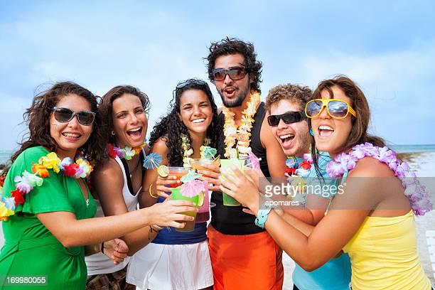 Heureux amis portant un toast lors d'une fête sur la plage