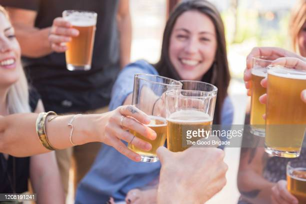 happy friends toasting with beer - celebratory toast stock pictures, royalty-free photos & images