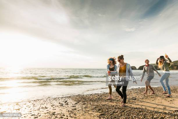 happy friends walking on the beach at sunset - day 4 foto e immagini stock