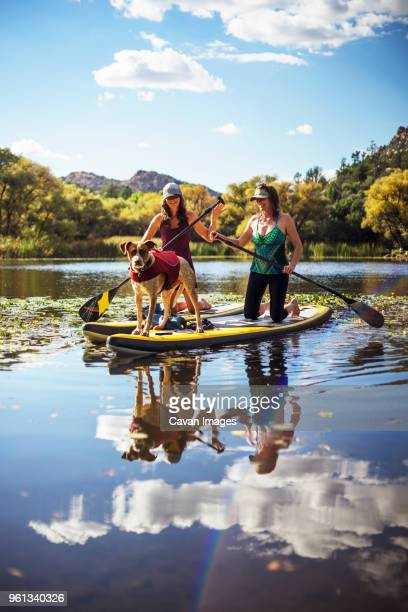 Happy friends with dog paddleboarding in lake against sky