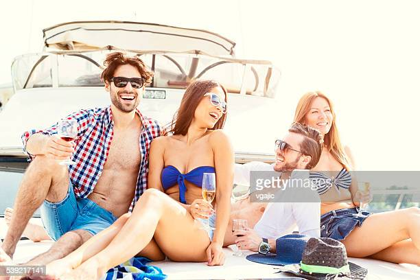 Happy Friends Yachting Together.