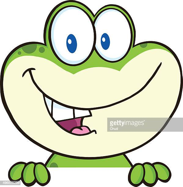 happy frog over blank sign - cartoon stock pictures, royalty-free photos & images