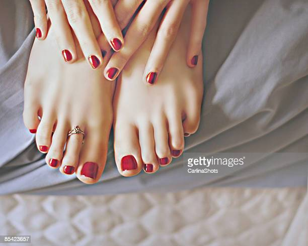 happy futab - pretty toes and feet stock photos and pictures