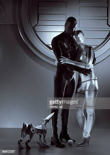 Happy futuristic couple and robot dog