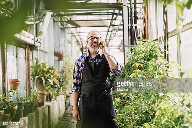 Happy gardener talking on mobile phone while standing in greenhouse