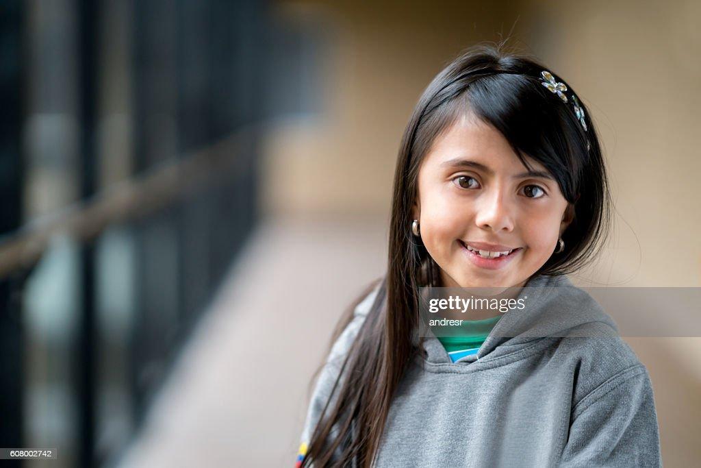 Happy girl at the school : Stock Photo