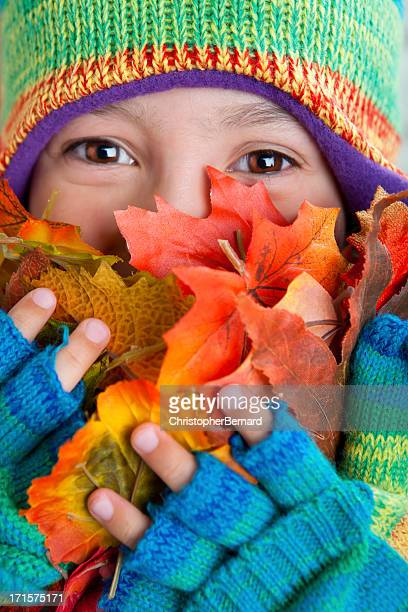 Happy girl autumn portrait