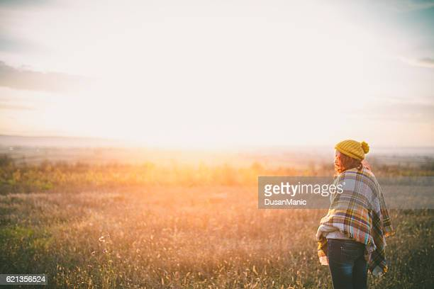 happy girl enjoying life and freedom in autumn on nature - design elements stock photos and pictures