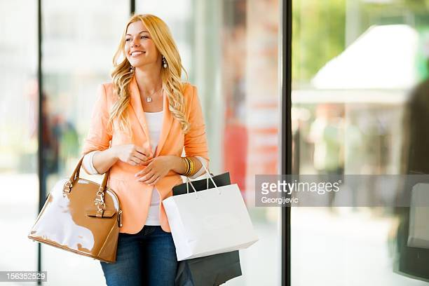 Happy girl in a shopping
