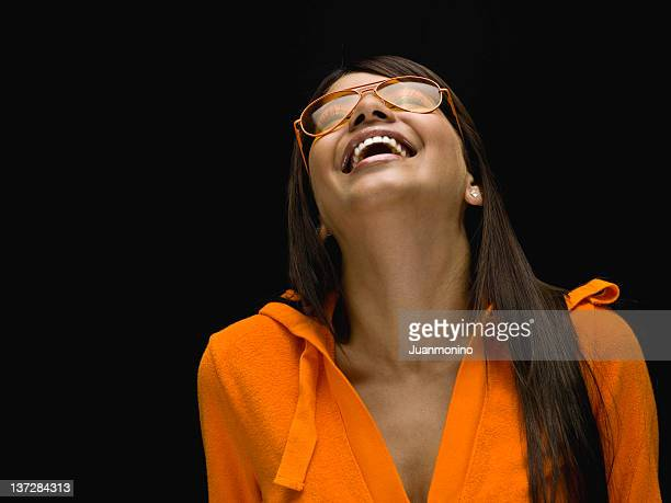 happy girl in orange - fine art portrait stock photos and pictures